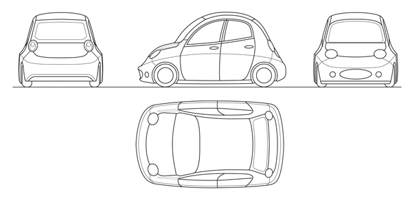 Cartoon car on behance handcrafted blueprint malvernweather Image collections