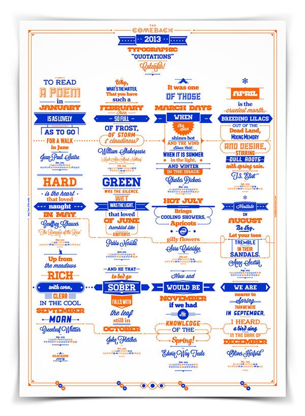 Calendar Typography S : Typographic quotations calendar on behance