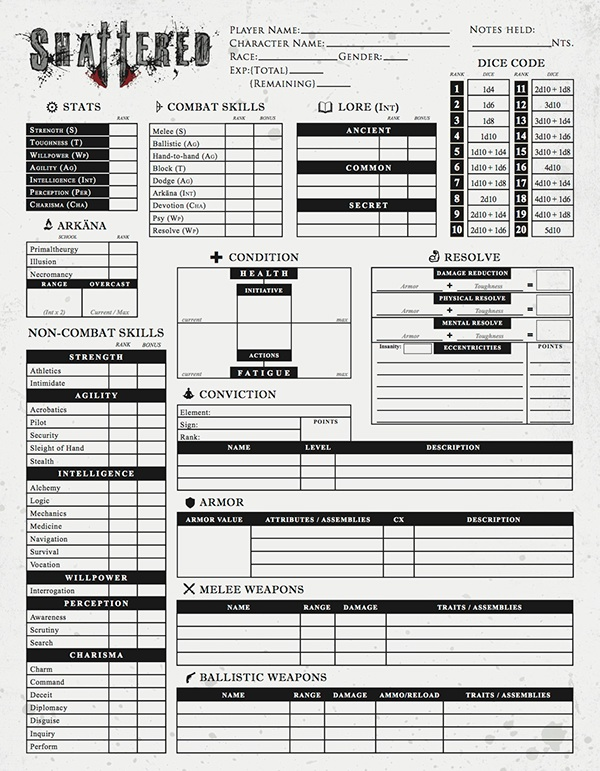 Shattered Rpg Character Sheet On Behance