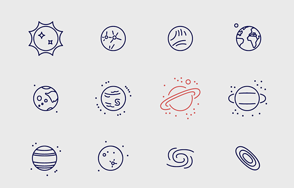 infinity space icons on student show