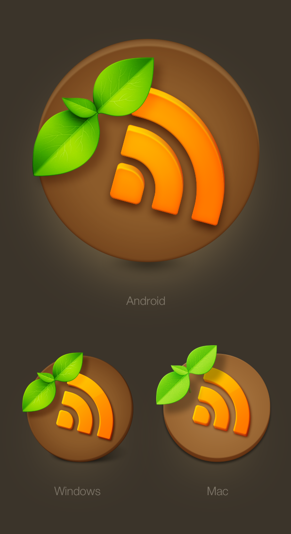 Icon RSS icons reader earth soil sprout mac android windows