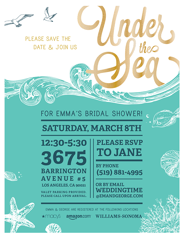 under the sea bridal shower invites on behance