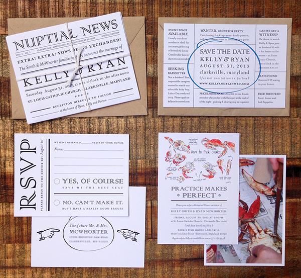 Summer In Maryland Newspaper Wedding Invitation Suite On Behance