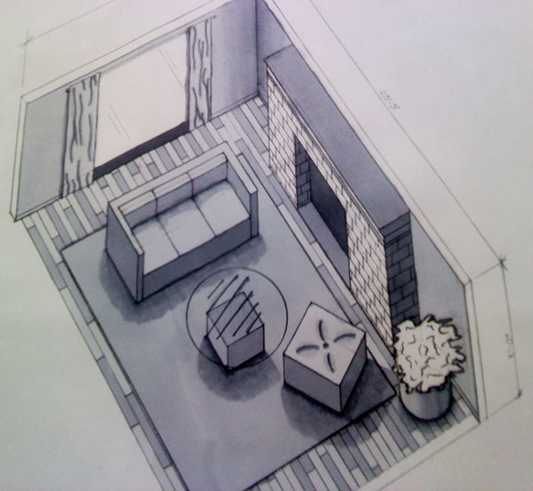 Renderings on behance for Living room 2 point perspective