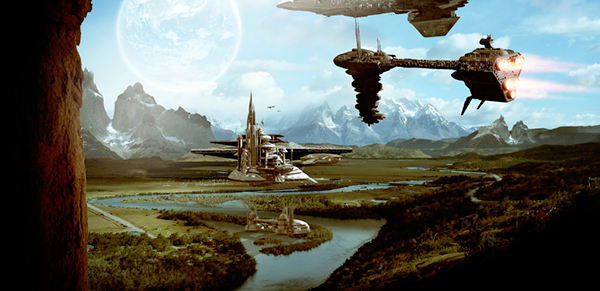 Space colony matte painting on pantone canvas gallery for Space matte painting