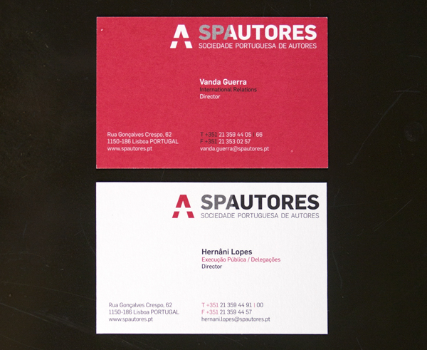 Sociedade portuguesa de autores on behance directors have bilingual business cards one side white other side red other employees have one sided business cards white colourmoves