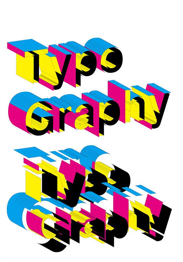 four-color letterpress Typeface color printing Colourful  letter font deconstruction linear poster spot color Experimental Typography