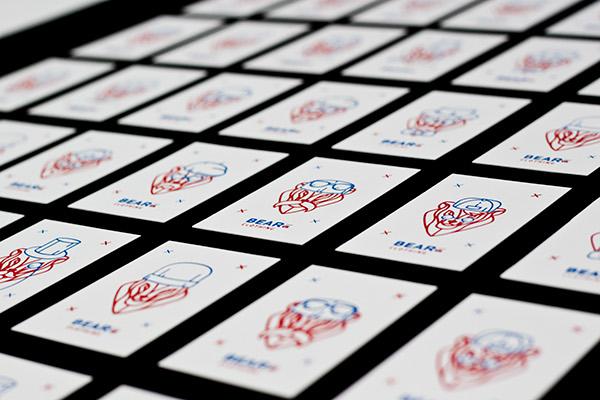 print silkscreen logo brand business card flyer poster bear Clothing apparel accessories identity visual corporate