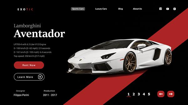 Car Rental Website UI design concept