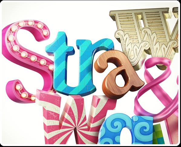 strawberry walnut logo 3D Logotype Fun