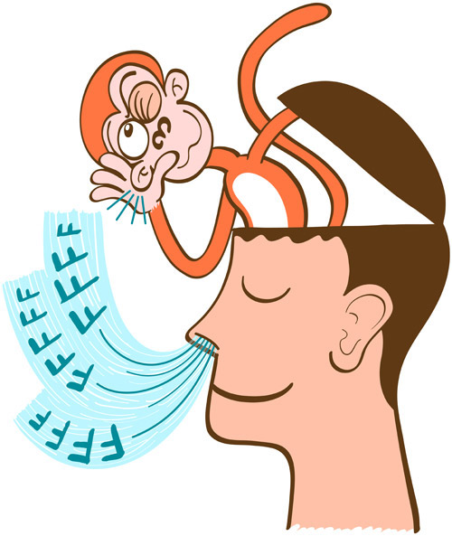 Monkey mind keeping aware of the breath of a man in meditation