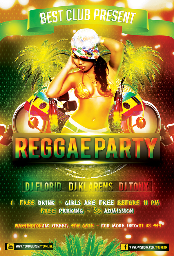 Reggae Party Flyer FREE PSD Template (photoshop) on Behance
