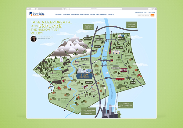 SUNY New Paltz: Ulster County Map on Pantone Canvas Gallery