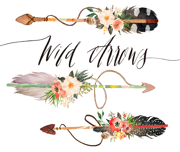 watercolor wild arrows clip art on behance