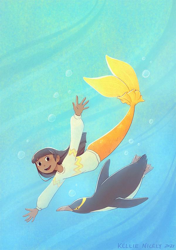 Yellow-Eyed Penguin + Mermaid