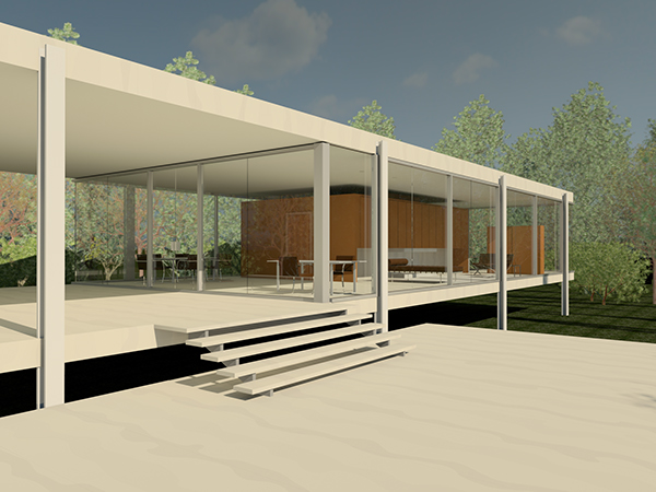 Farnsworth house on philau portfolios - Revit exterior rendering settings ...
