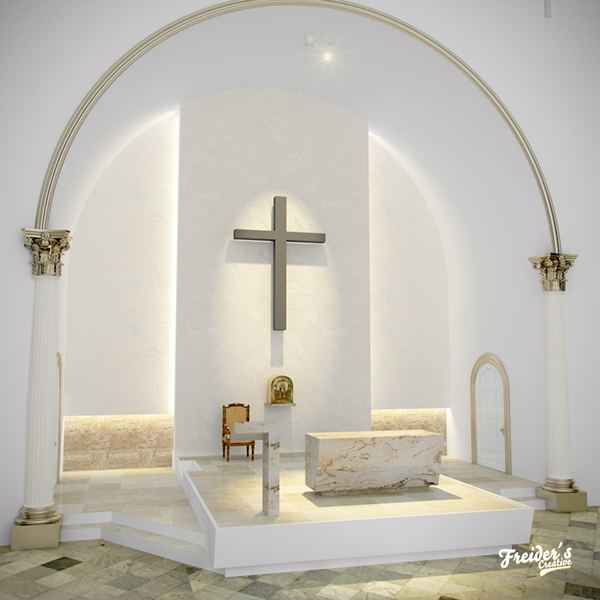 Dise o interior y render de altar para iglesia catolica on for Disenos de unas modernos