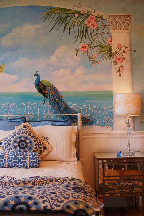 decorative painting peacock mural on behance. Black Bedroom Furniture Sets. Home Design Ideas