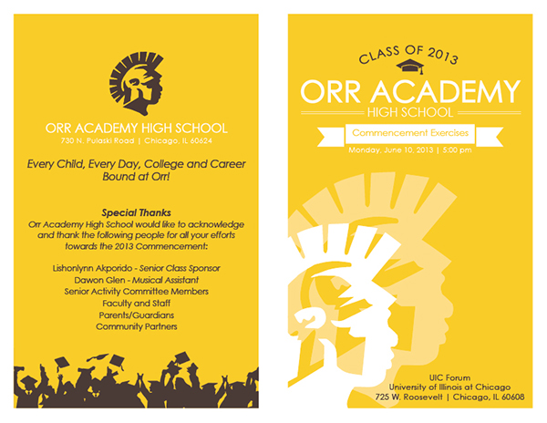 Orr Academy High School 2013 Graduation Programs On Behance