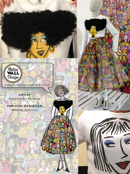 Fashion  faces tessile design textile design  coloured faces capsule collection