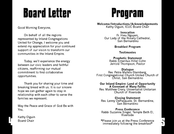 ICUC Prayer Breakfast Program on Behance