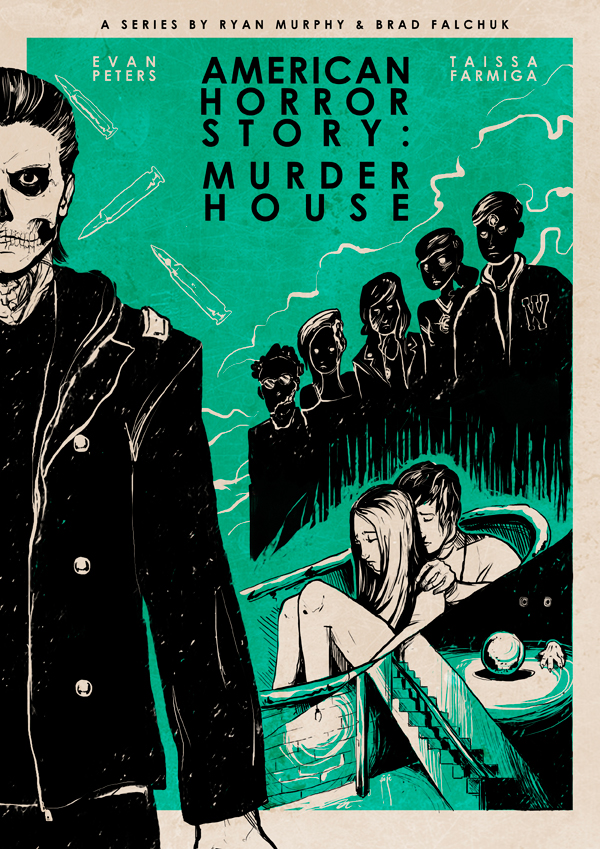 american horror story murder house inspired posters on