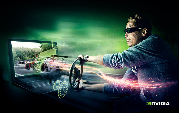 nvidia computers graphic card 3D vision effects vfx CGI campaign people emotions water  light car