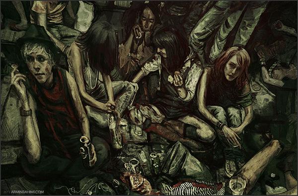 ilustration dark club experimental female nude girls tears Street blood lights