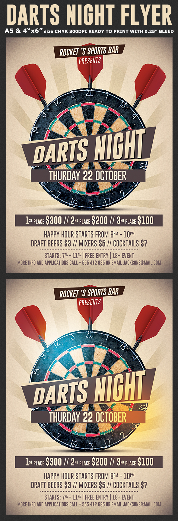 darts night flyer template on pantone canvas gallery
