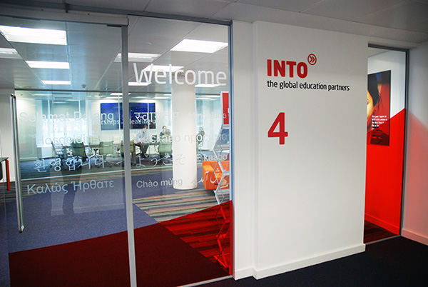 Into head office branding and signage on behance for Office design language