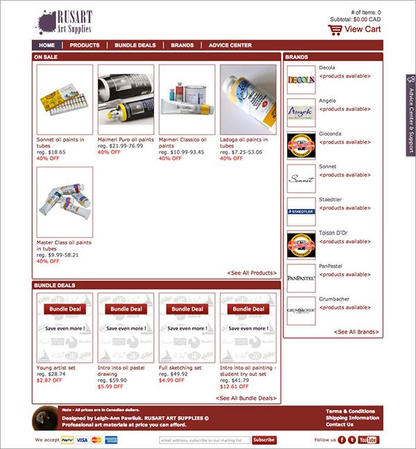 RUSART Art Supplies' Website Prototype on Behance