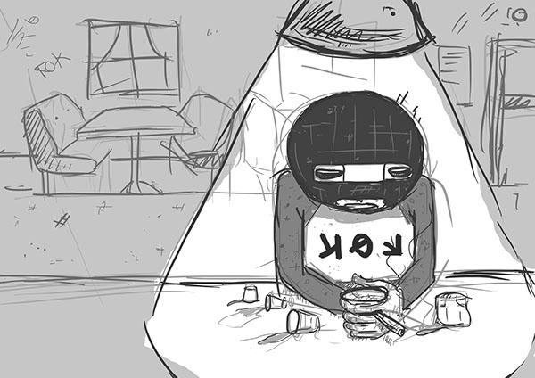 comic cartoon wacom sketch black and white grayscale