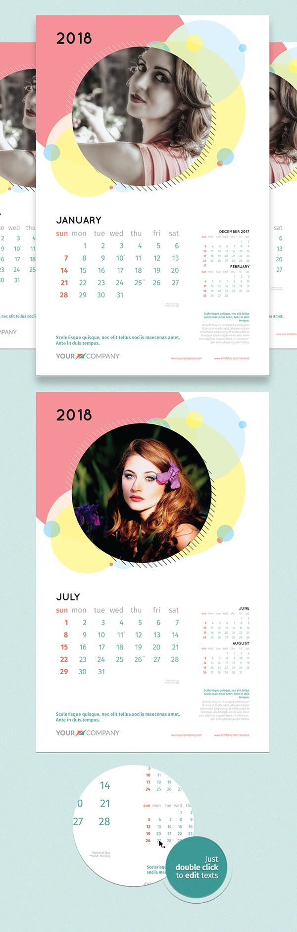 wall calendar 2018 template on behance. Black Bedroom Furniture Sets. Home Design Ideas