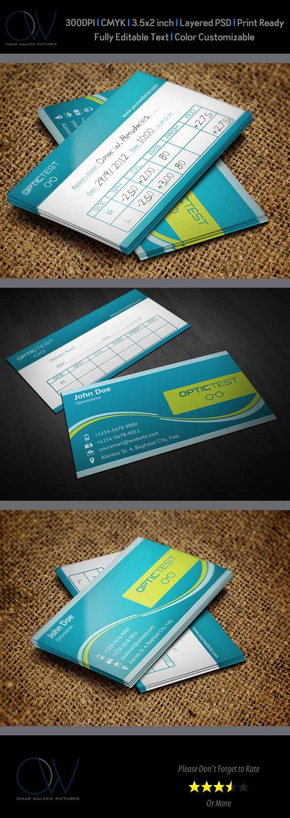 Optometrist with Test Table Business Card on Behance