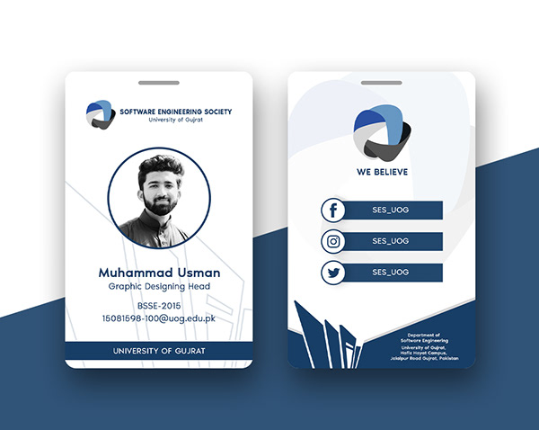 Software Engineering Society Id Card Design By Muudy On Student Show