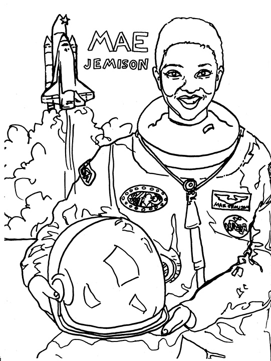 mae jemison coloring page women 39 s history coloring book on behance
