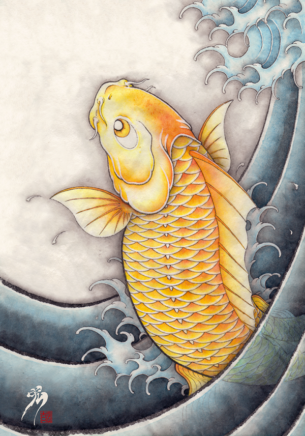 45 Traditional Japanese Koi Fish Tattoo Meaning Designs: Golden Crap Japanese Koi Fish On Behance