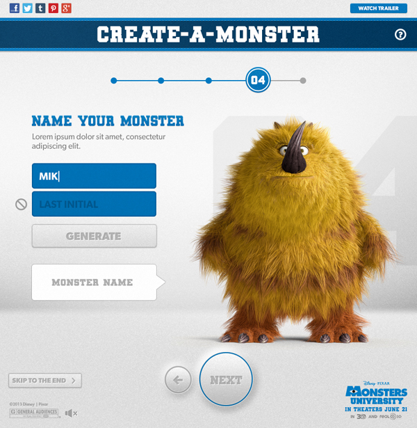 Monsters University Create-a-Monster App on Behance