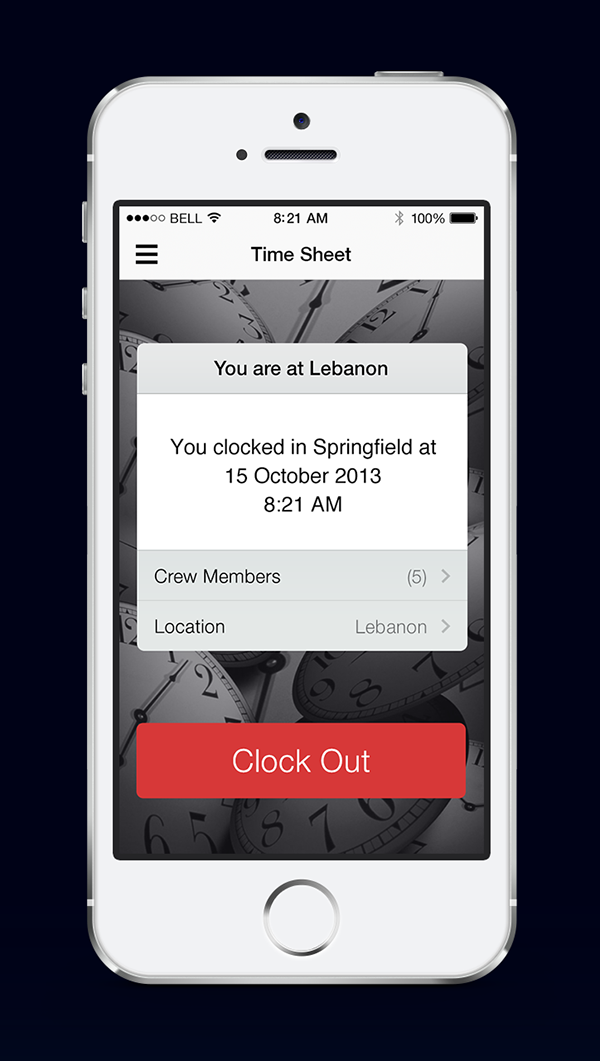 UI ux ios timesheet application concept