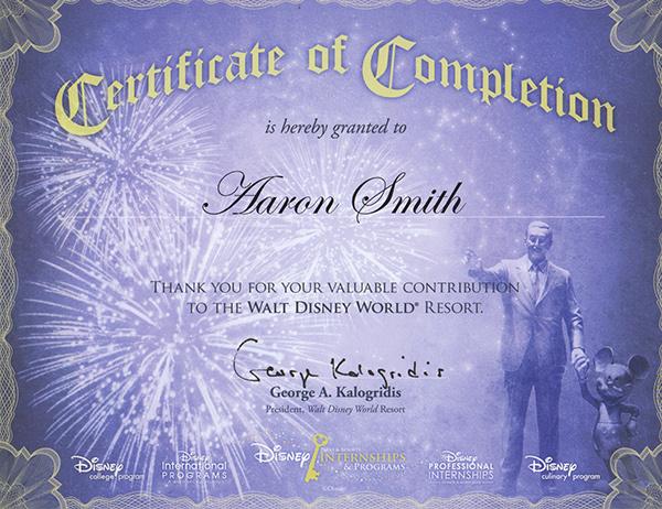 my achievements at walt disney world on ccs portfolios