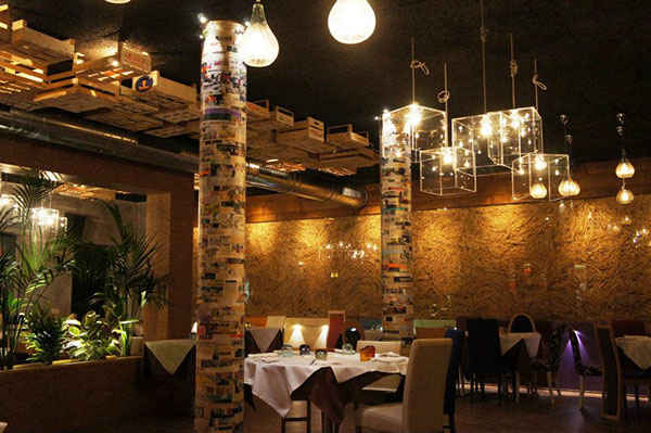 light straw glass chairs restaurant