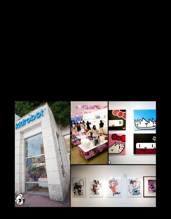 Exhibition  gallery Kidrobot vinyl toys prints sketch installation