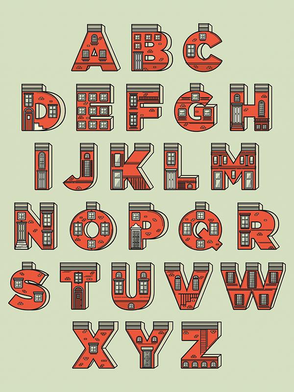 Baltimore Row Home Alphabet Poster Graphic Design