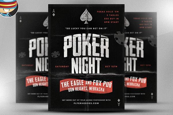Vintage Style Poker Flyer Template on Behance