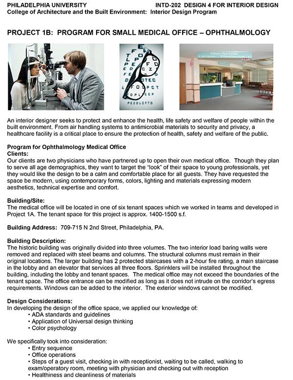 program document for ophthalmology medical office on philau portfolios