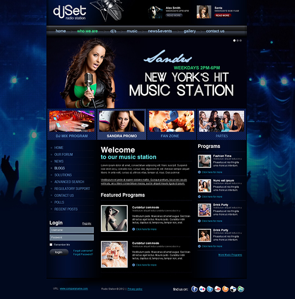 radio station website template