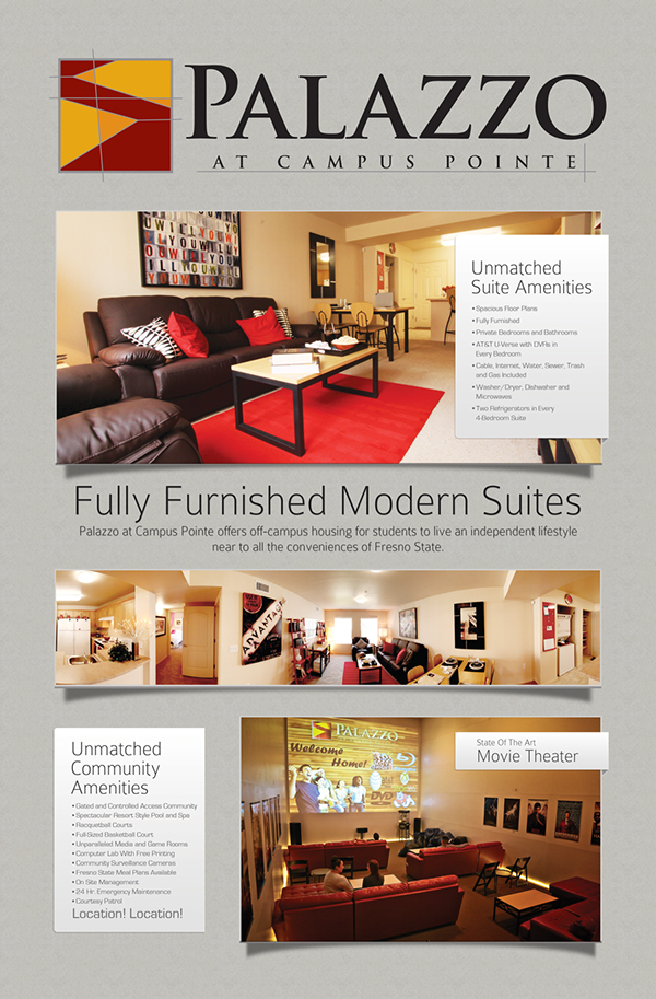 fresno state student housing print marketing material on behance