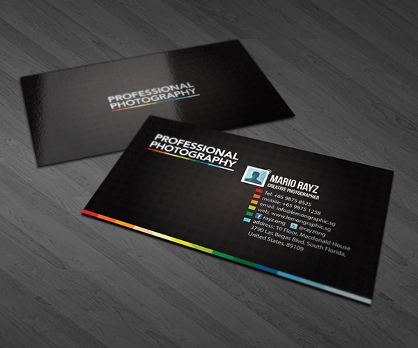Professional photographer business cards on Behance