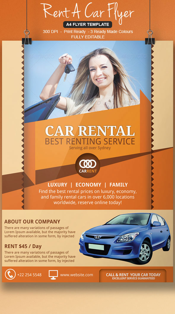 Rent A Car Flyer Template On Behance