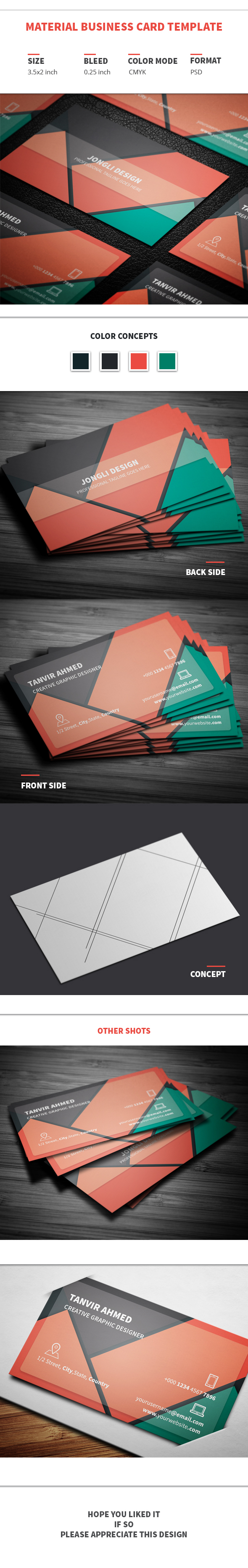 Material Business Card Template Freebie on Behance